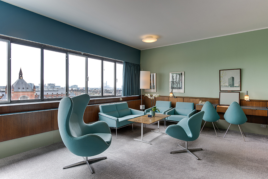 Blue chairs and coffee table hotel